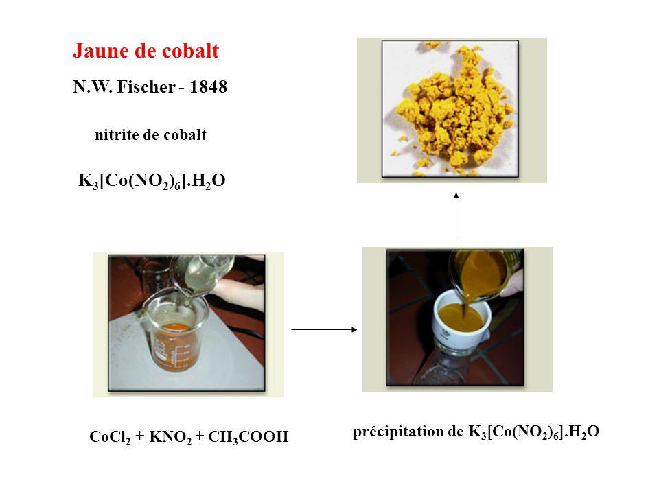 Jaune de cobalt N.W. Fischer - 1848 K3[Co(NO2)6].H2O nitrite de cobalt